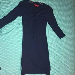 Mid sleeve navy blue dress